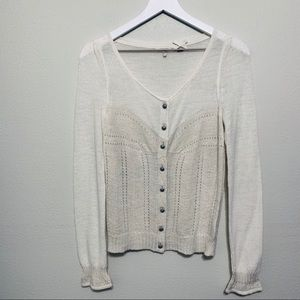 {Anthropologie} Knitted & Knotted White Cardigan